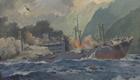 大久保絵画「ガダルカナル島にて空爆を受け炎上する『九州丸』」