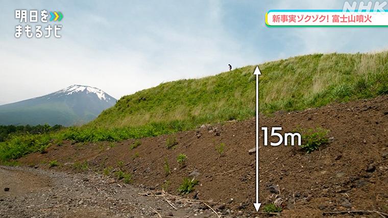 堆積物が15メートルもの高さまで積もっている