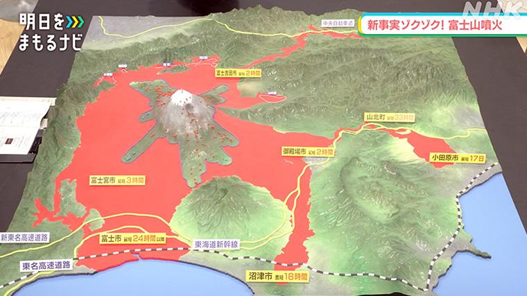 溶岩流の到達範囲を示す立体模型