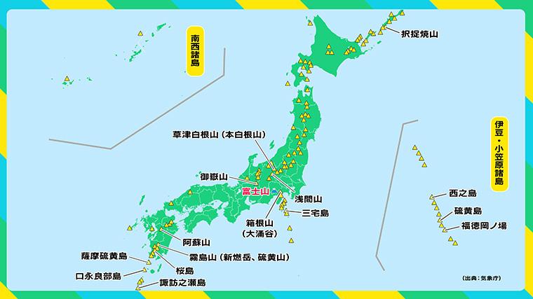 日本の活火山と最近10年間に噴火が確認された火山(富士山除く・山名を表示)