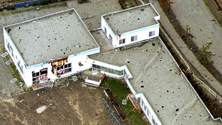 噴石の被害にあった幼稚園