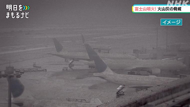 火山灰が降り積もった空港のイメージ