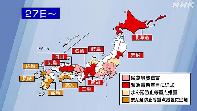 政府 緊急事態宣言に8道県追加 重点措置を4県適用を決定   NHK政治マガジン